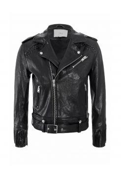 Zerignola Fringe Leather Jacket - Black